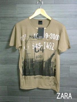 □ZARA/ザラ 半袖 デザイン Tシャツ/メンズ・S/ブラウン☆新品