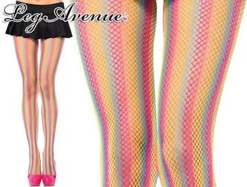 A404)LegAvenue蛍光ネオンレインボーストッキングダンスステージ衣装派手タイツコスチューム