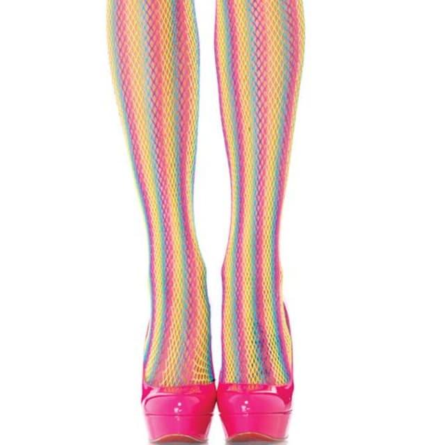 A404)LegAvenue蛍光ネオンレインボーストッキングダンスステージ衣装派手タイツコスチューム < 女性ファッションの