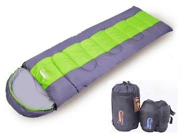 寝袋 封筒型 軽量 アウトドア グリーン 1kg