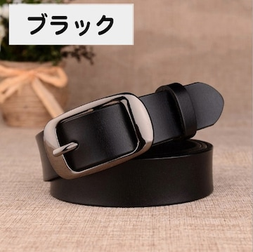 ブラック 黒 本革ベルト レザー シンプル カジュアル