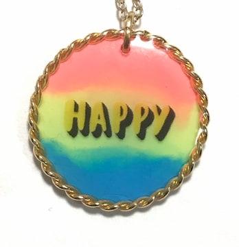 hハンドメイド〓レジン○ペンダントネックレス〓蛍光3色HAPPY