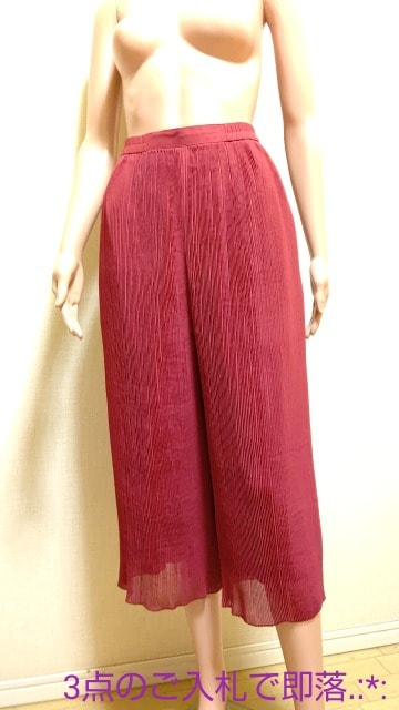 ☆ユーナ☆眩しい赤のシフォンなスカーチョB195☆3点で即落  < 女性ファッションの