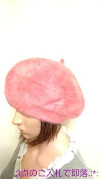 美品☆可愛いピンクのニット(ウール)帽子E23☆3点で即落