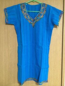 インド 衣装 パンジャビ 新品 ショッキングブルー