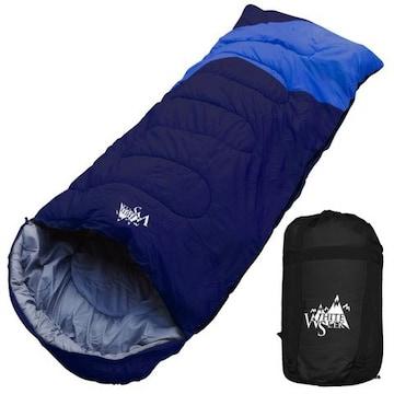 寝袋 ワイド 封筒型 最低使用温度 -5℃ ネイビー