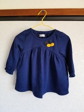 紺に黄色とみどりのリボンつきトレーナー95