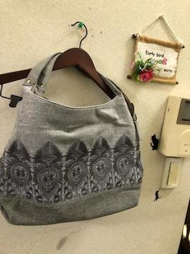 グレーラメ刺繍ショルダーバッグ