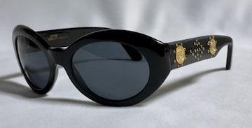 正規 VERSACEヴェルサーチ 2連メデューサロゴ×スタッズ装飾サングラス 黒×ゴールド