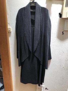 3Lプリーツワンピース&ロングジャケット 黒