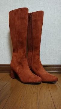 ブーツ*ロング*スエード*茶/キャメル*24.0�p