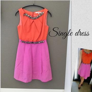 Single dress ビジュー付きワンピース ドレス シングルドレス