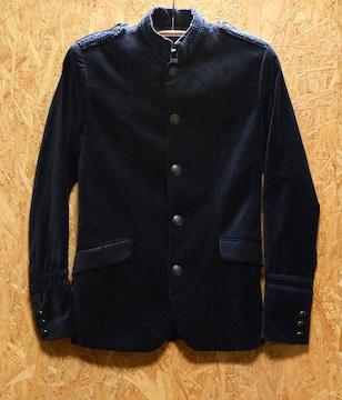 Size42 プレミアムH&M襟袖フリンジ刺繍ナポレオンジャケット濃紺
