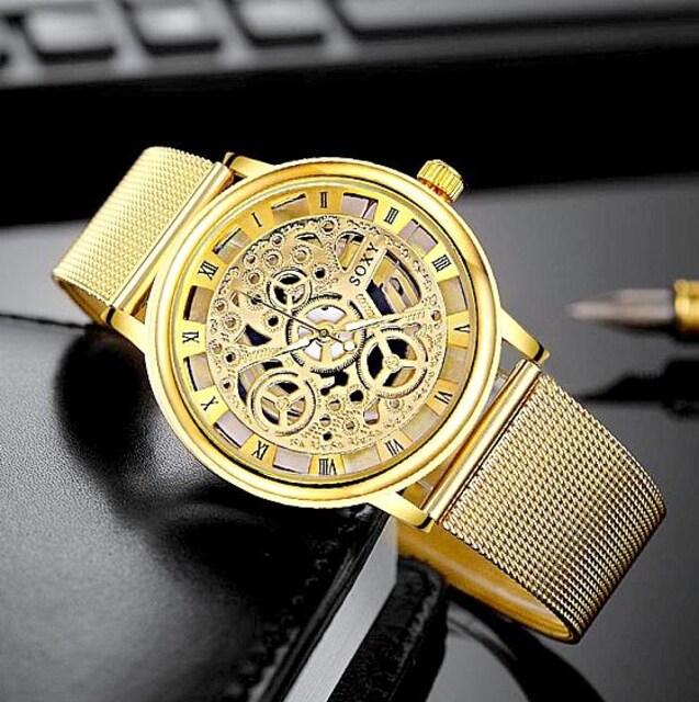 特A品 新品1円〜★送料無料★豪華 透かし彫り ゴールド腕時計ウォッチ