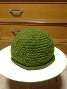 古着 編み込み ウール毛 ニット帽子 キャップ カーキ緑 Sサイズ小さめ ハンドメイド