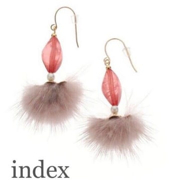 定価2,149円 ミンクファーピアス Pink【新品】indexインデックス