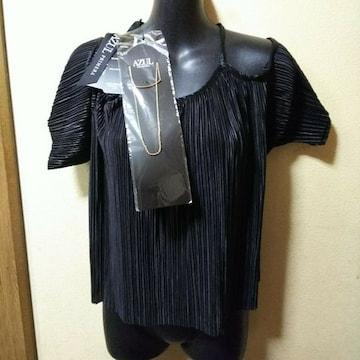AZUL★ネックレス付肩開きプリーツカットソー黒/M