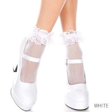 ラッフルトリム付き可愛いアンクル網ソックス ホワイト