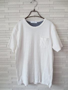 INHERIT/メンズ半袖丸首ポケットボーダーコットンTシャツ/白/L