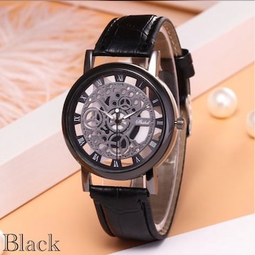 腕時計 ギリシャ文字 アナログ メンズ クォーツ 時計 レザー 黒
