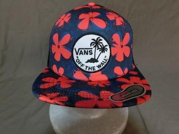 ★アメカジ【VANS】ヤシの木ワッペン付花柄デザイン メッシュCAP