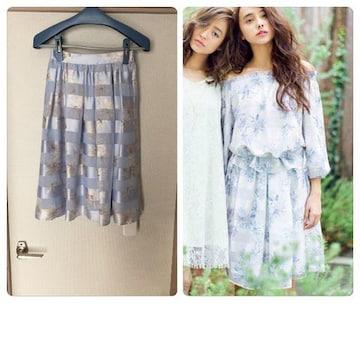 新品タグ付きマーキュリーデュオ Flowerシアーボーダースカート