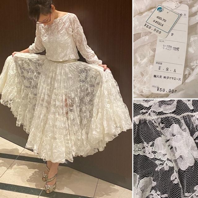 新品総レースボリュームたっぷりフレアロングドレスワンピース白 < 女性ファッションの