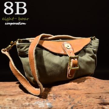 ◆牛本革×加工帆布 ミリタリーショルダー&ハンドバッグ◆緑c15