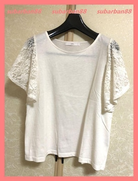 ☆美品☆二の腕カバー♪美形レースフリル袖TシャツM☆