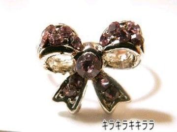 《New》ageha掲載★エタニティリボン・リング/指輪<パープル>【箱付】