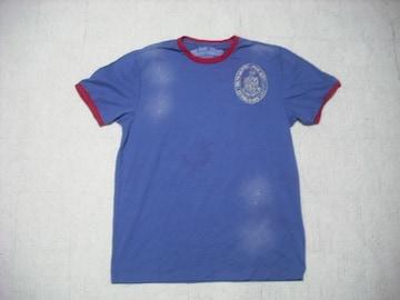 73 男 ラルフローレン 青 半袖Tシャツ M