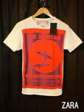 □ZARA/ザラ 新作 半袖 デザイン Tシャツ/S☆新品