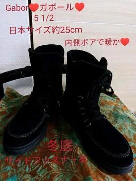 Gabor/ガボール/レースアップショートブーツ/25cm/5 1/2/黒/ブラック/24.5cm方も