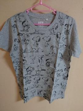 新品 ユニクロ スヌーピー Tシャツ グレー サイズL