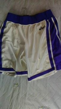 asics バスパン〓アシックス バスケットボールパンツXO〓白×紫