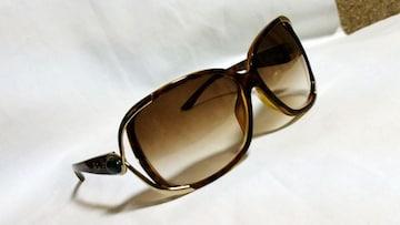 正規美 レア Christian Dior ディオール メタルアイライン×ジュエリーストーンサングラス茶