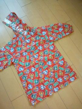 新品 妖怪ウォッチ 総柄レインコート 収納巾着袋付 オレンジ