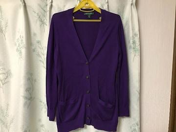 ラルフローレン 紫色パープル カーディガン RALPH LAUREN