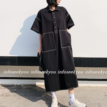 4L大きいサイズ/ステッチ~ロングシャツワンピース/黒