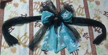 送料込!可愛いキティちゃんの飾り帯リボン! 黒と水色キティ模様!