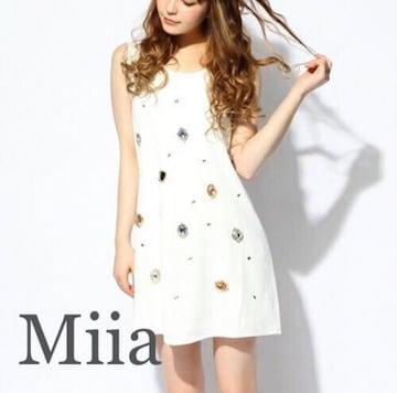 定価8,690円【新品同様】Miia●ジュエルワンピース●白ホワイト