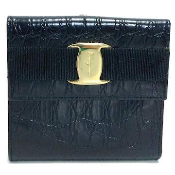 Ferragamoフェラガモ 三つ折り財布 ヴァラ 型押し 黒金 正規品