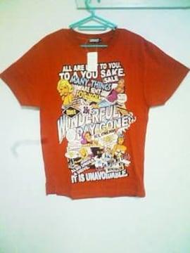 A-47★新品★半袖カジュアルプリントTシャツ レッド M