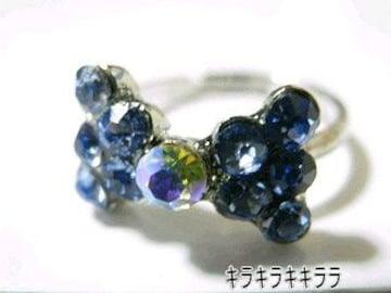 《New》ageha掲載★キラキラ*パヴェリボン・リング/指輪<ブルー>【箱付】