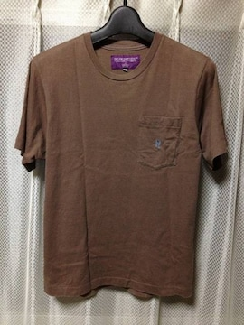 NEPENTHES ネペンテス 胸ポケット 半袖Tシャツ Sサイズ 茶色 日本製 ニードルス