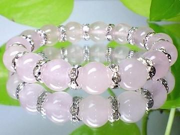 新品大特価癒し石ローズクオーツ紅水晶10ミリ銀ロンデル人気数珠