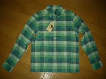 新品ラッツRATSチェックシャツS緑系長袖