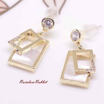 18K RGP ゴールド ダイヤ CZ 貝殻石 上品 ピアス gp5198