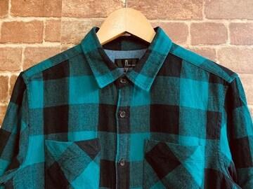 表記S!ジップファイブ 緑 ブロックチェック ネルシャツ 古着 アメカジ ロック ルードスタイル