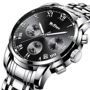 クラシックメンズ防水マルチ機能クォーツ腕時計 ブラック